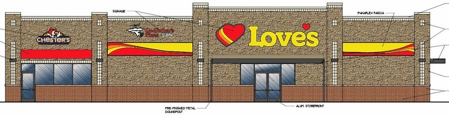 A sketch shows the proposed Love's gas station convenience store in Elk Grove Village. A groundbreaking is planned for spring.