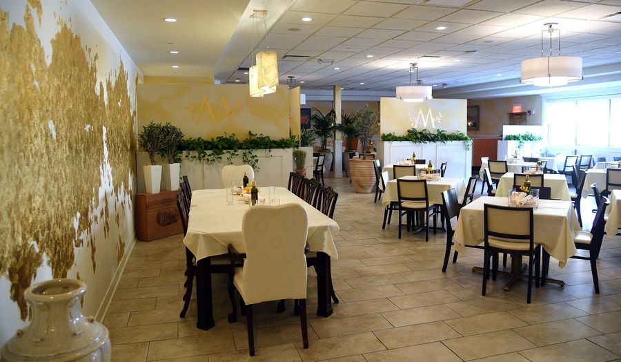 Mezé's main dining room can accommodate small and large groups.
