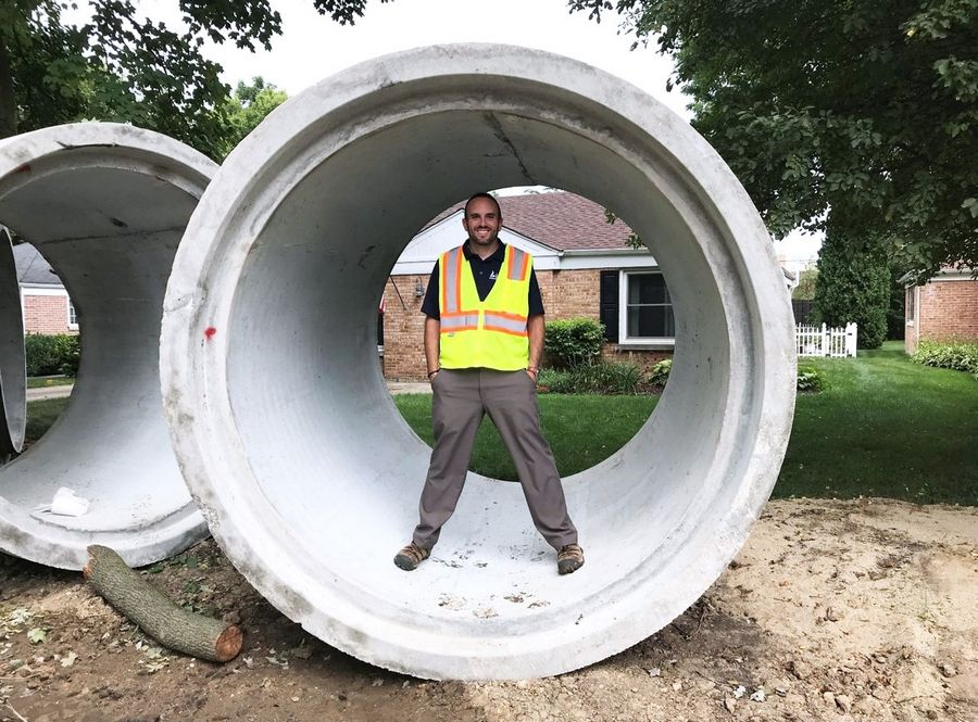A two-year construction project to rebuild Rockland Road east of Milwaukee Avenue in Libertyville includes installing oversized storm sewer pipes to better handle stormwater and reduce flooding. The largest is 84 inches in diameter.