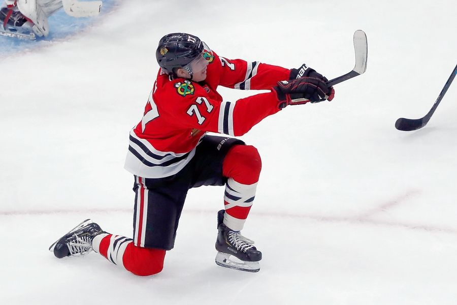 Blackhawks center Kirby Dach scored his first NHL goal in Tuesday's overtime loss to Vegas, and whether he sticks with the big club or is sent to juniors for seasoning has yet to be determined.