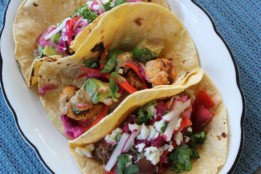 COURTESY OF LESLIE MEREDITHLeslie Meredith made Beef Barbacoa and Spiced Cauliflower Tacos with Curtido and Cashew Lime Crema for week four of the Cook of the Week Challenge.