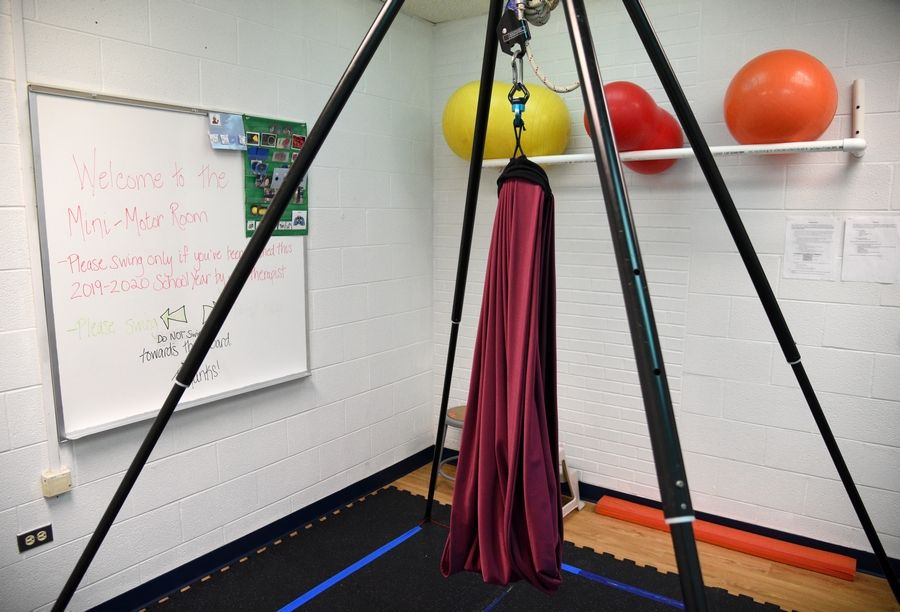 The occupational/physical therapy room at Bower Elementary School in Warrenville has a special swing for children with certain sensory needs.