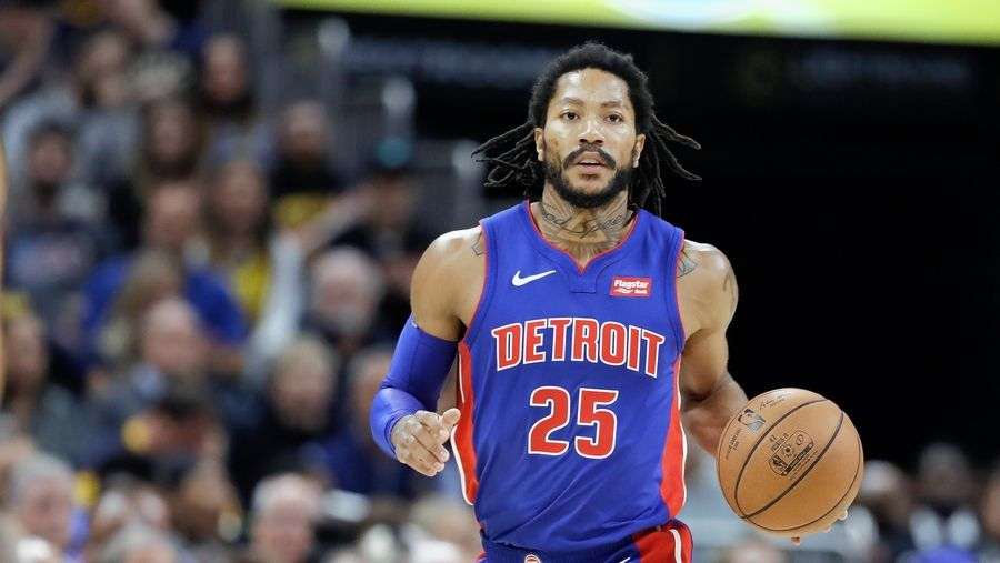Detroit Pistons' Derrick Rose dribbles during a game against the Pacers on Oct. 23 in Indianapolis. The former Bull returned to the United Center for the third time Friday.