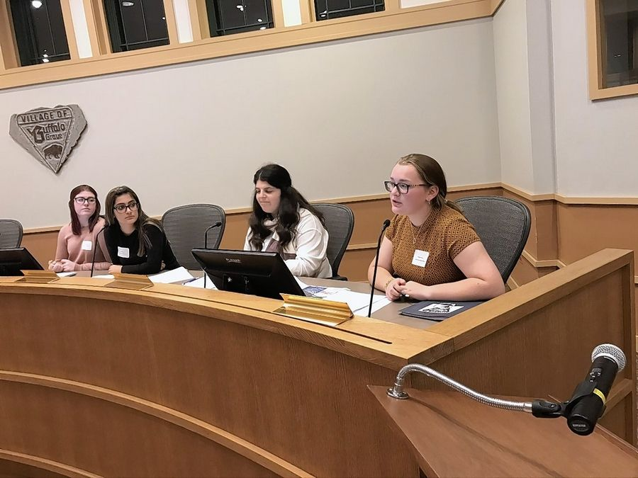 Students, from left, Quinn Donahue, Sophia Chumbley, Abbey Finn and Melissa Gibbs played the role of various Buffalo Grove officials when the village hosted its annual Civics Forum last week.