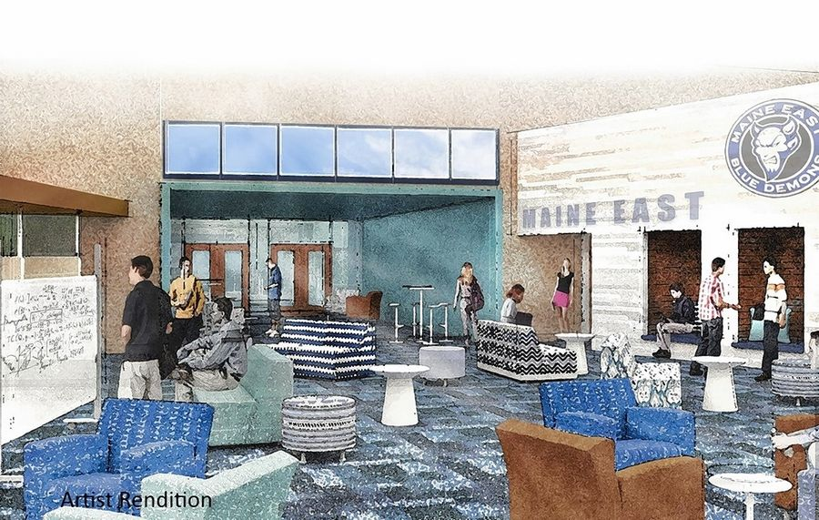 This rendering shows an upgraded food service area at Maine East High School that is included in a $240 million building plan underway in Maine Township High School District 207.