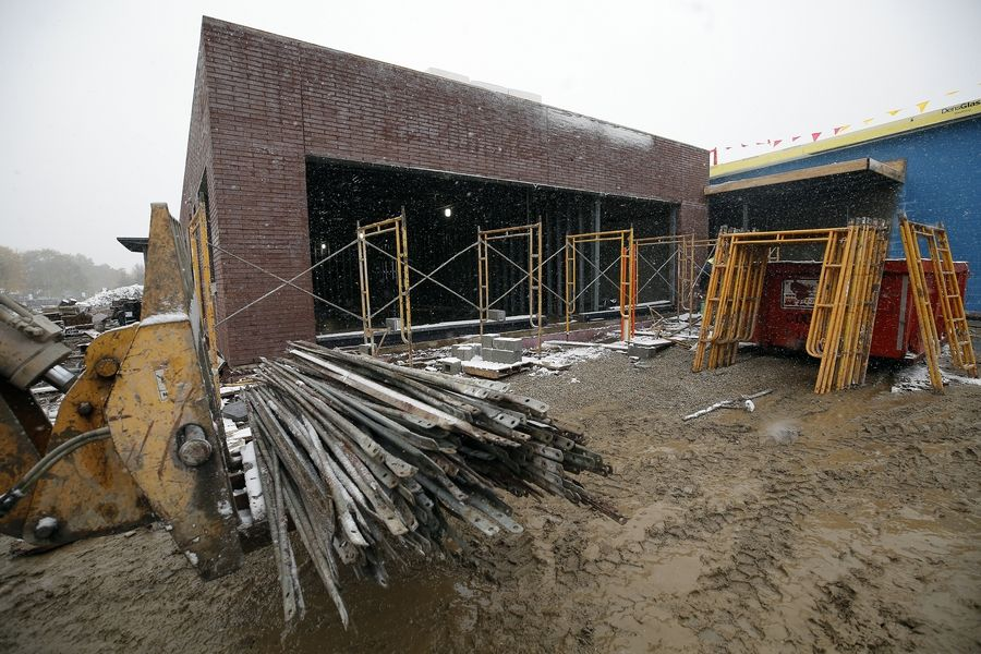 Construction crews are working on the masonry on the exterior of the new 43,000-square-foot Jefferson Early Childhood Center.