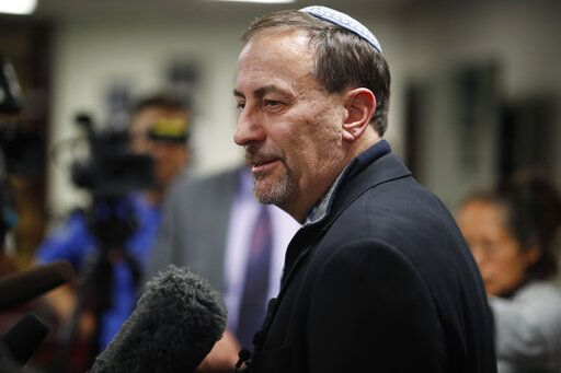 Scott L. Levin, Mountain States regional director of the Anti-Defamation League, talks to reporters after a news conference in Denver on Monday, Nov. 4, 2019, after officials announced the arrest of a man who repeatedly espoused anti-Semitic views in a plot to bomb a historic Colorado synagogue in Pueblo.