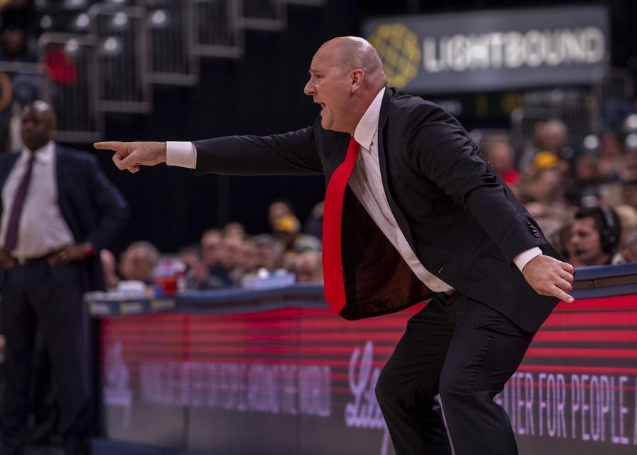 Chicago Bulls head coach Jim Boylen reacts to the action on the court during the first half of an NBA basketball game against the Indiana Pacers in Indianapolis, Sunday, Nov. 3, 2019.