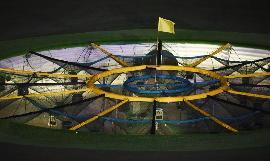 View of a hole at the new Topgolf facility in Schaumburg.