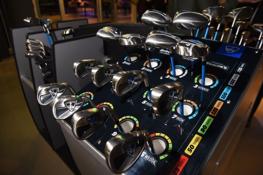 Clubs at the new Topgolf facility in Schaumburg Wednesday.