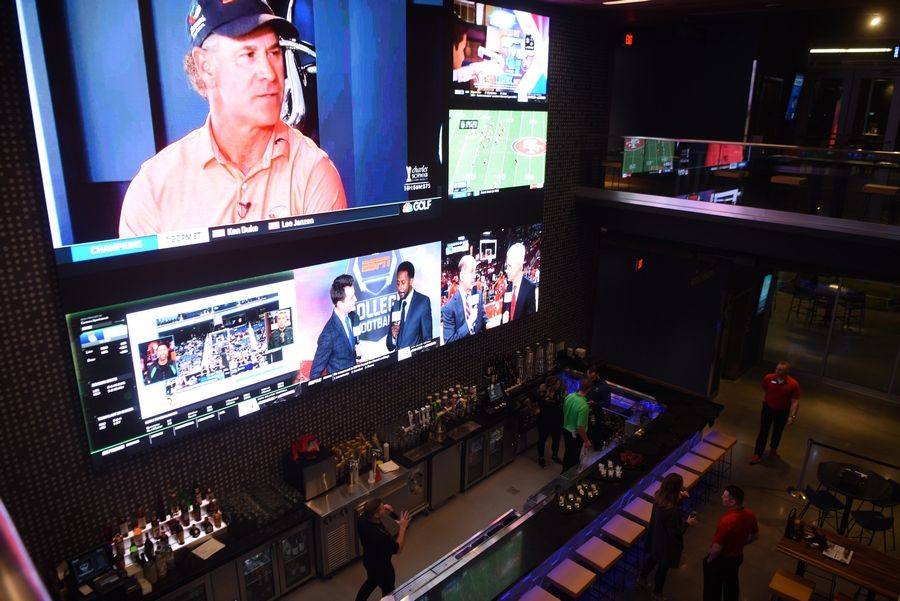 View of a bar at the new Topgolf facility in Schaumburg Wednesday.