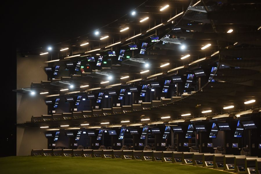 There are three levels for golfers to hit from at the new Topgolf facility in Schaumburg.