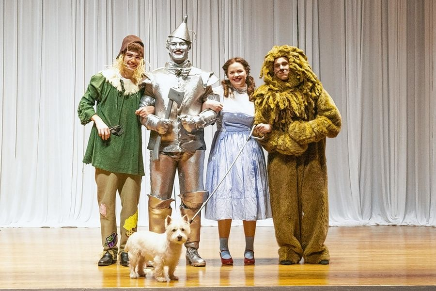 "Westminster Christian School in Elgin will present ""The Wizard of Oz"" Nov. 7-9. From left are Griffin Bayer, Connor King, Alivia Anderson and Jackson Layne, with Toto played by Amos Thomas."