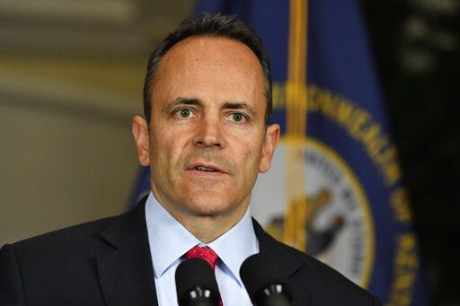 Kentucky Governor Matt Bevin announces his intent to call for a remcanvass of the voting results from Tuesday's gubernatorial elections during a press conference at the Governors' Mansion in Frankfort, Ky., Wednesday, Nov. 6, 2019.