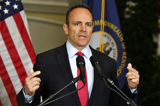 Kentucky Governor Matt Bevin announces his intent to call for a recanvass of the voting results from Tuesday's gubernatorial elections during a press conference at the Governor's Mansion in Frankfort, Ky., Wednesday, Nov. 6, 2019.