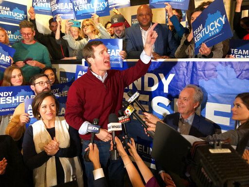 Democrat Andy Beshear speaks to supporters after a daylong tour of Kentucky on the last night of the campaign for governor, in Louisville, Ky., Monday, Nov. 4, 2019. Beshear traveled the state as his opponent, Republican Gov. Matt Bevin, welcomed President Donald Trump for a rally Monday night in Lexington. Voters go to the polls Tuesday.