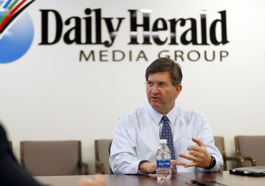Rep. Brad Schneider, a Deerfield Democrat, meets with Daily Herald editors and reporters Wednesday in Arlington Heights.