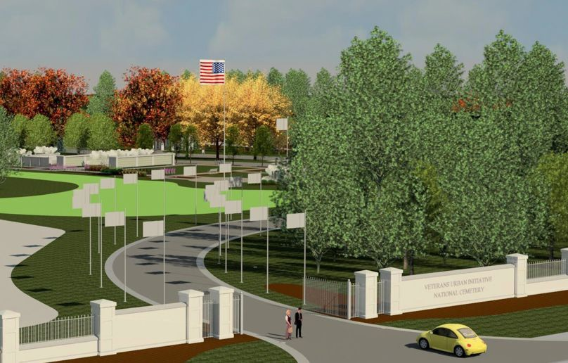 An artist's rendering of a proposed veterans cemetery in South Barrington. Under what's called an urban initiative, the U.S. Department of Veterans Affairs wants to acquire 15 acres near Mundhank and Freeman roads for the columbarium cemetery.