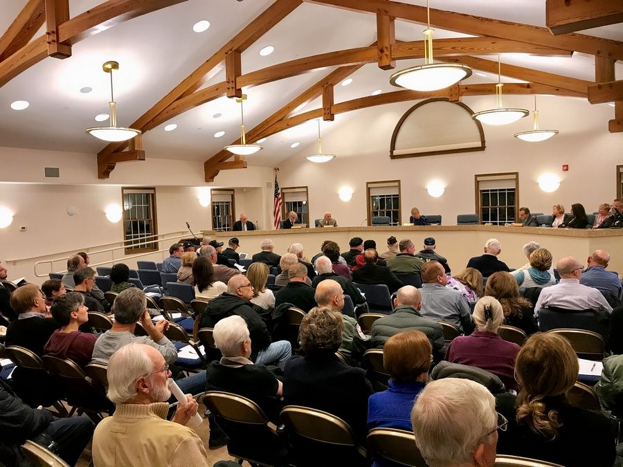 About 200 people attended a town hall meeting Thursday night at South Barrington village hall regarding a national veterans columbarium cemetery proposed there.
