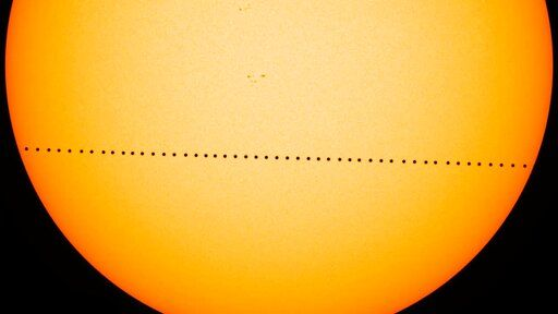 In this composite image provided by NASA, the planet Mercury passes directly between the sun and Earth on May 9, 2016, in a transit, which lasted seven-and-a-half-hours. On Monday, Nov. 11, Mercury will make another transit, visible from the eastern U.S. and Canada, and all Central and South America. The rest of North America, Europe and Africa will catch part of the action. Asia and Australia will miss out.