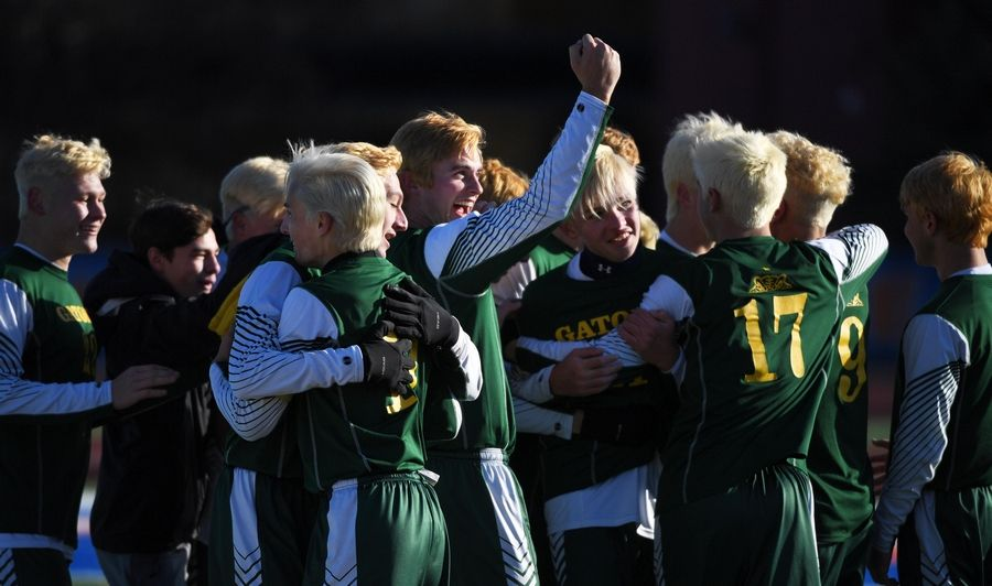 Crystal Lake South's Colton Weidner and his teammates celebrate their win against Troy Triad in the Class 2A boys state semifinal game in Hoffman Estates Friday.