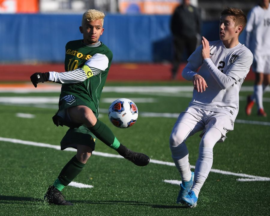 Crystal Lake South's Sabien Raymond moves the ball against Troy Triad's Colton Clark in the Class 2A boys state semifinal game in Hoffman Estates Friday.