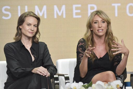 "FILE - This Aug. 2, 2019 file photo shows Laura Solon, left, and Daisy Haggard participating in the Showtime ""Back To Life"" panel during the Summer 2019 Television Critics Association Press Tour in Beverly Hills, Calif. The series premieres on Nov. 10. (Photo by Richard Shotwell/Invision/AP, File)"