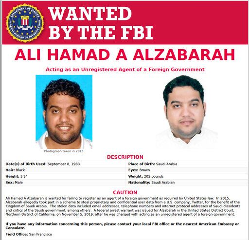 This FBI internet wanted poster, released Thursday, Nov. 7, 2019, shows Ali Alzabarah, sought in connection with alleged spying on critics of Saudi Arabia on Twitter. Saudi Arabia, frustrated by growing criticism of its leaders and policies on social media, recruited two Twitter employees to spy on thousands of accounts that included prominent opponents, U.S. prosecutors have alleged. Investigators said Alzabarah is in Saudi Arabia. (FBI via AP)