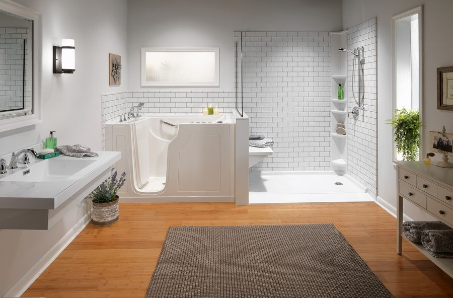 Bath Planet specializes in walk-in showers, right, and walk-in spa tubs, left, that allow aging residents to care for themselves longer in their own homes.