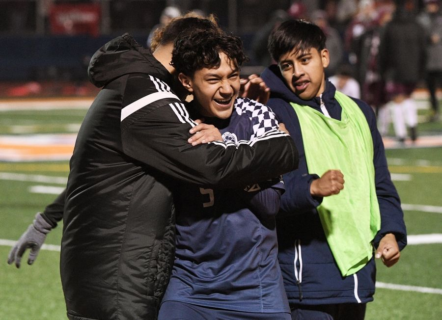 West Chicago's Brian Nieves is hugged by teammates after the Wildcats defeated Morton in the Class 3A state soccer championship in Hoffman Estates Saturday.