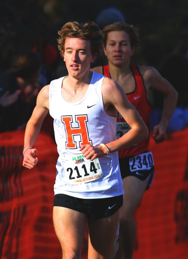 Hersey's Josh Methner runs to the Class 3A state boys cross country championship at Detweiller Park in Peoria on Saturday.
