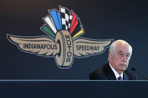 FILE - In this Monday, Nov. 4, 2019, file photo, Penske Corporation Chairman Roger Penske responds to a question about the sale of the Indianapolis Motor Speedway, IndyCar and related business from Hulman & Company to Penske Corporation, at a news conference in Indianapolis. Penske this week celebrated the crowning achievement of a career so rich in America's fabric that he last month received the Presidential Medal of Freedom by buying iconic Indianapolis Motor Speedway. On Sunday he will watch two of his drivers try to make NASCAR's championship race.