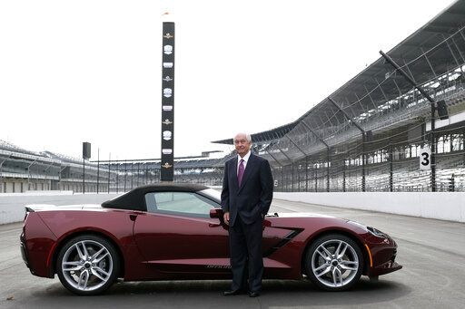 Penske Corporation Chairman Roger Penske poses for a photo on the front straight away of the Indianapolis Motor Speedway following a news conference in Indianapolis Monday, Nov. 4, 2019. Indianapolis Motor Speedway and the IndyCar Series were sold to Penske Entertainment Corp. in a stunning move Monday that relinquishes control of the iconic speedway from the Hulman family after 74 years.