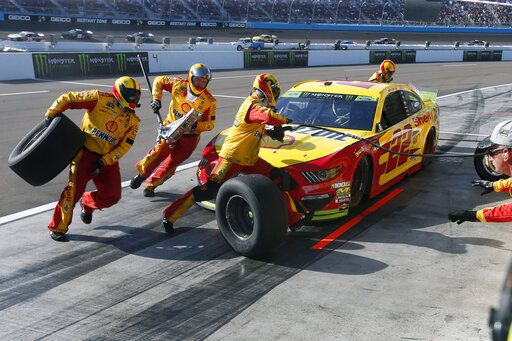 Joey Logano makes a pit stop during the NASCAR Cup Series auto race Sunday, Nov. 10, 2019, in Avondale, Ariz.