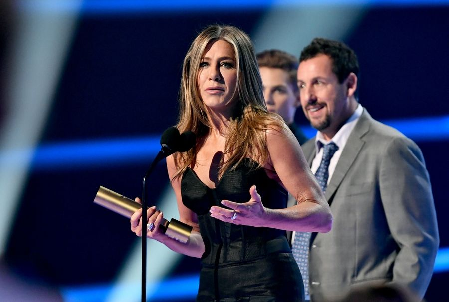 Jennifer Aniston during the 2019 E! People's Choice Awards in Santa Monica, Calif., on Sunday night, after an introduction from her friend Adam Sandler.