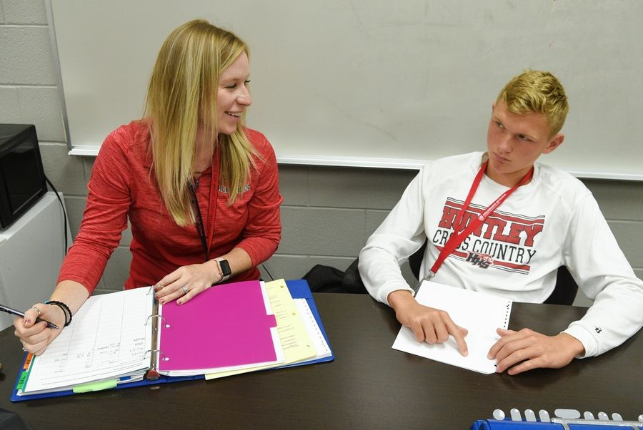 Kateri Gullifor, who works with students with visual impairments, was named the 2019 Teacher of the Year by the Braille Institute. Here, she's working with Huntley High School junior Owen Cravens on his Braile reading. Gullifor has been a vision itinerant with Huntley Community School District 158 since 2013.