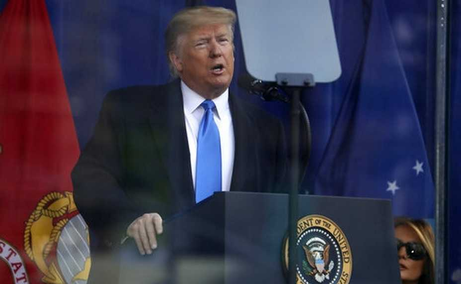 President Donald Trump speaks before the New York City Veterans Day Parade at Madison Square Park in New York, Monday, Nov. 11, 2019. (AP Photo/Andrew Harnik)