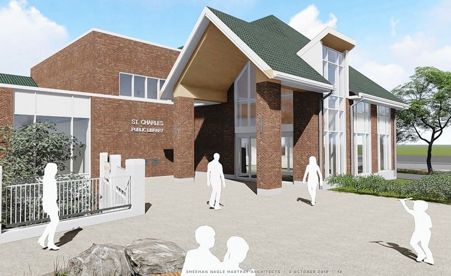 A renovation plan at the St. Charles Public Library includes the creation of a new entrance.