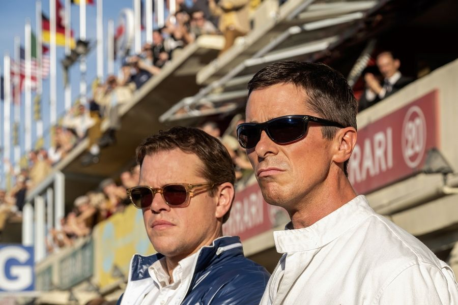 "Car designer Carroll Shelby (Matt Damon), left, teams up with bad-boy driver Ken Miles (Christian Bale) to take on Le Mans in ""Ford v Ferrari."""