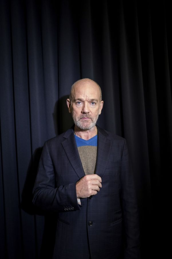 R.E.M. singer Michael Stipe poses for a portrait in New York for his first solo song since that band retired in 2011.