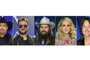 Garth Brooks, left, Eric Church, Chris Stapleton, Carrie Underwood and Keith Urban, who are up for Entertainer of the Year at the Country Music Association Awards on Wednesday.
