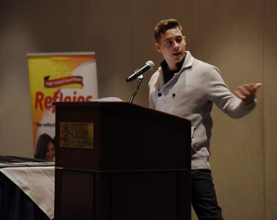 "Keynote speaker Nate Santana, from NBC's ""Chicago Med,"" speaks at the 8th Annual Reflejos Reflecting Excellence Awards at the Stonegate Conference and Banquet Centre in Hoffman Estates."