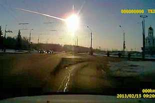A meteor streaks through the sky in 2013 above Chelyabinsk in Russia. It was one of the largest to hit Earth in the past 100 years.