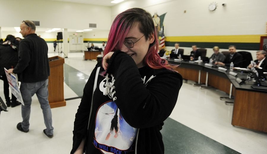 Nova Maday of Palatine, who is transgender, was overcome with joy Thursday after the Palatine-Schaumburg High School District 211 board approved a measure to grant transgender students unrestricted access to locker rooms.