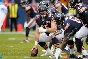 Bears offensive guard Cody Whitehair watches coverage at the line of scrimmage against the Detroit Lions during the first half of the win against Detroit last Sunday. For the time being, it appears Whitehair will remain at center.