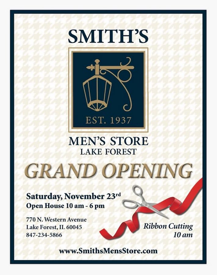 Smith's Men's Store is celebrating its grand reopening on November 23, 2019.