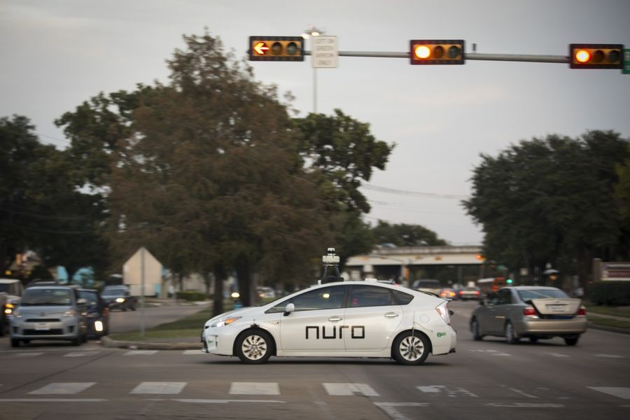 A Nuro delivery vehicle completes training routes in the Meyerland neighborhood of Houston early this month.