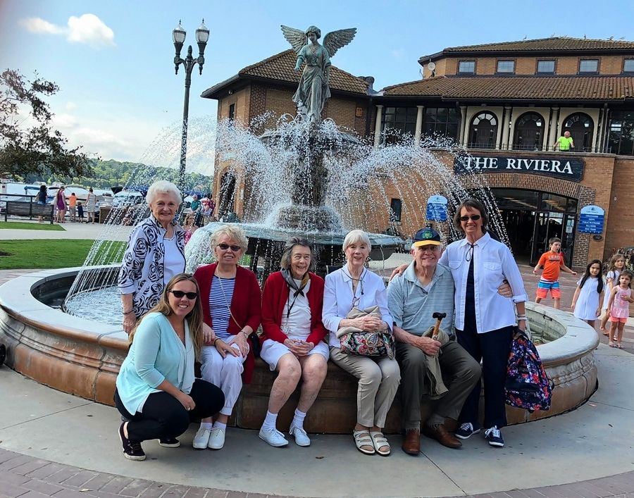 Residents of Lake Barrington Woods enjoy a recent outing to an area shopping center.