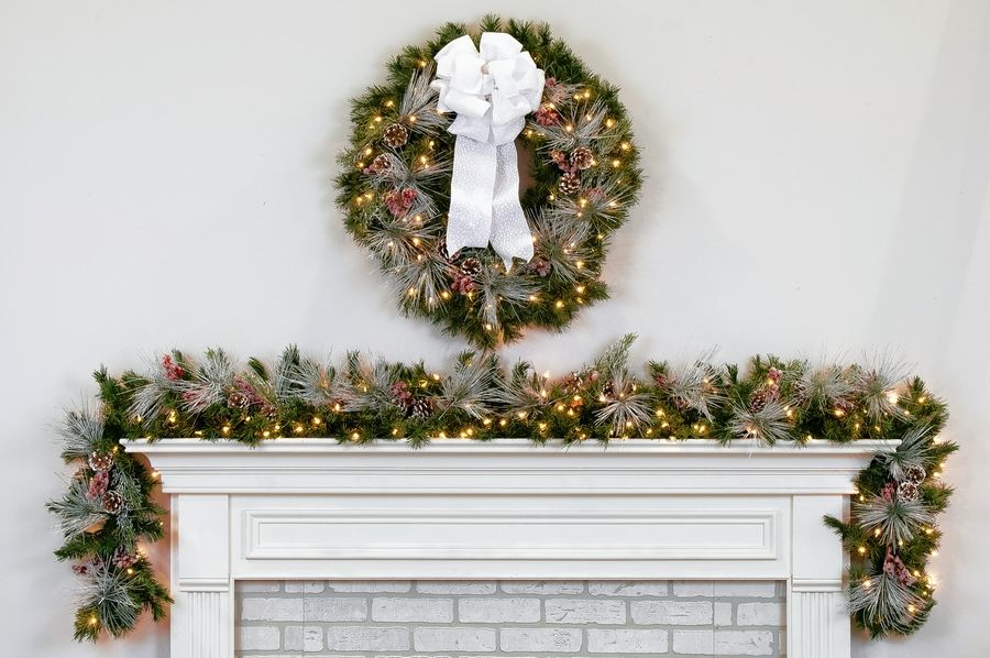 Kendzora's room has a great natural stone fireplace, perfect for the Treetime Aspen wreath and garland set.