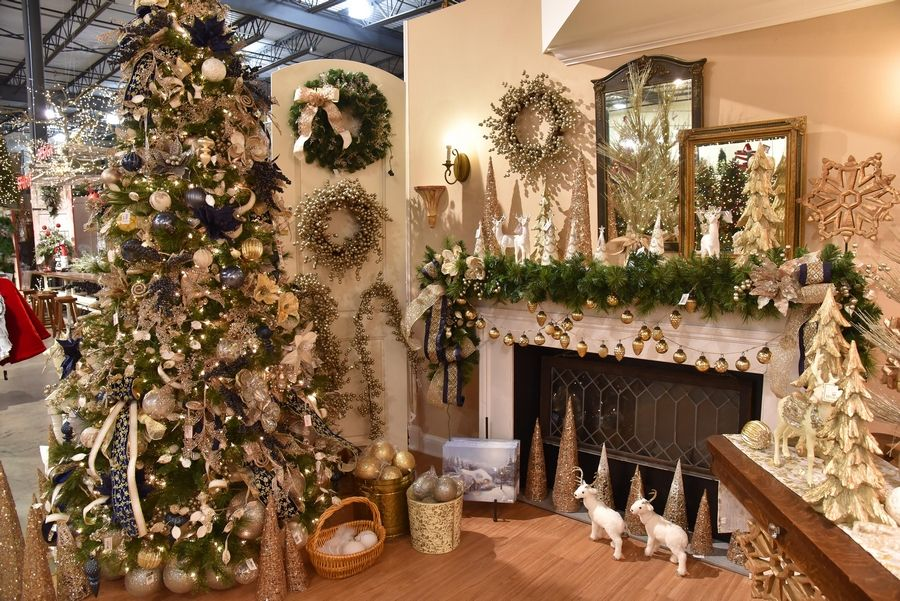 Platinum, blue and gold are trends this year in holiday decorating at Treetime Christmas Creations in Lake Barrington.